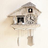 新款欧式挂钟布谷鸟出窗报时摇摆挂表客厅现代创意简约咕咕钟 20英寸