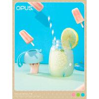 opus玻璃水杯女学生韩版创意潮流杯子便携韩国可爱茶杯果汁随手杯
