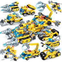 启蒙积木工程八合一组合套装拼装变形金刚极速锋影战车1408机器人男孩子6-8-12岁�犯�