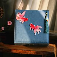 古典中式礼物文艺刺绣 大首饰盒带锁化妆盒收纳盒