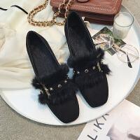 毛毛鞋女冬外穿2018新款韩版百搭粗跟单鞋复古时尚中跟加绒豆豆鞋