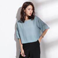 2019夏季新款女装韩版时尚精品圆领蝙蝠袖短袖宽松雪纺衫女 灰蓝色