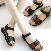 妈妈鞋凉鞋皮软底平底中老年人女鞋子夏季新款中年舒适奶奶