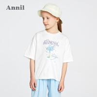 【2件4折价:67.6】安奈儿童装女童T恤圆领短袖2021新款拼接夏装中大童时髦上衣纯棉