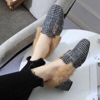 豆豆鞋拼色千鸟格百搭中跟方头女鞋秋冬新款欧美粗复古毛毛鞋高跟