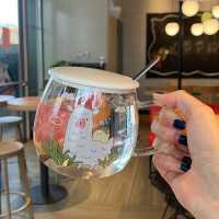 玻璃茶杯透明可�凵倥�心家用早餐杯���w牛奶杯子��意��性潮流大肚