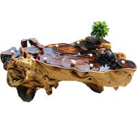 新中式古典茶几 根雕茶台香樟实木金丝楠茶桌办公桌阳台茶几桌天然整体树功夫茶海 1-1.2米宽