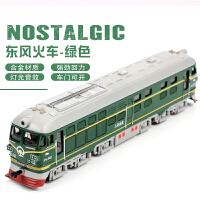 儿童玩具火车模型仿真合金绿皮火车头男孩宝宝汽车模型玩具回力车