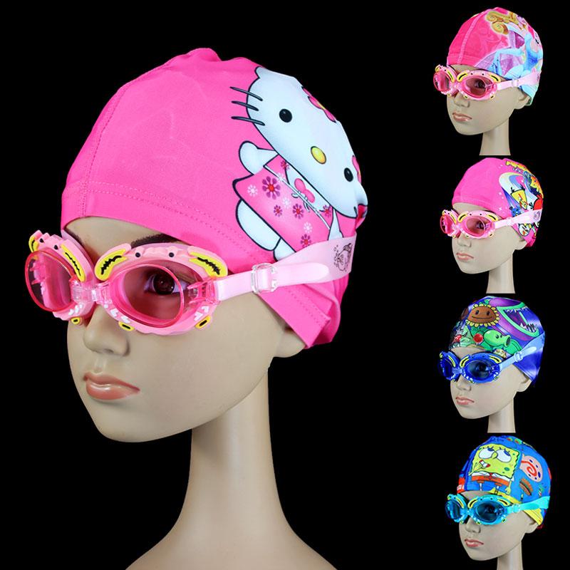 儿童泳镜泳帽男童女童高清防水防雾小孩螃蟹游泳镜潜水