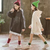 儿童卫衣 女童韩版童装上衣2020秋季新款中大童中长款卫衣女孩时尚连帽打底衫