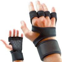 登山锻炼骑行手套护腕防滑健身运动手套耐磨战术牛皮四指骑行手套