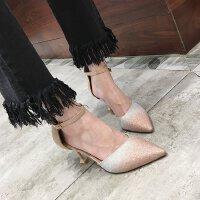 高跟鞋细跟尖头鞋性感 欧美一字扣带中跟5cm伴娘仙女礼服单鞋女鞋