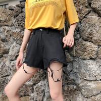夏季新款牛仔裤短裤女韩版宽松不规则毛边高腰显瘦休闲阔腿热裤潮