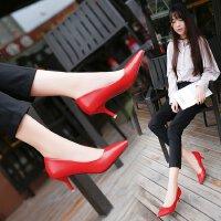 2017春秋新款低跟3公分小码红色婚鞋5-7cm高跟鞋黑色工作职业单鞋