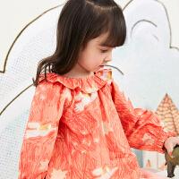【秒杀价:135元】马拉丁童装女小童衬衫春装2020年新款可爱木耳边洋气图案衬衫
