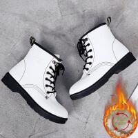 英伦马丁靴保暖韩版雪地靴加绒棉女鞋2018冬季学生高帮休闲鞋百搭 白色 K33K