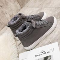 棉鞋女2018新款冬季百搭学生二棉短靴韩版保暖加绒高帮帆布鞋板鞋