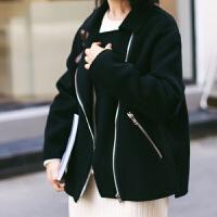 新年特惠小个子外套女短款毛呢黑色机车2019秋冬新款双面呢子大衣 黑色 现货