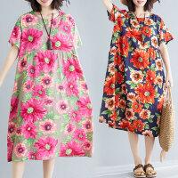 大码女装连衣裙胖妹妹夏装新款洋气宽松减龄遮肚子时尚中长裙