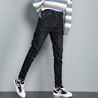 新年特惠黑色加绒牛仔裤女宽松紧腰高腰显瘦冬季外穿加厚带绒裤子女哈伦裤 黑色加绒