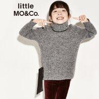 littlemoco女童高领毛衣开叉绑带蝴蝶花羊毛套头衫儿童毛衣