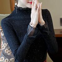 【限时限量】【秋冬特惠】秋季长袖女上衣春秋蕾丝打底衫2019新款黑色气质短款秋装洋气女装
