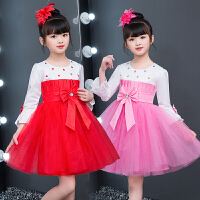 女孩跳舞粉公主裙幼儿园合唱舞蹈表演服装儿童演出服长袖女童蓬蓬裙