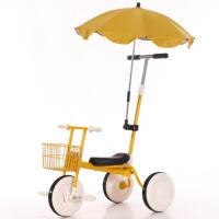儿童三轮车脚踏车小孩自行车简约无印宝宝推杆手推童车1-3岁YW152 黄色+前框+推杆+遮阳伞 送豪华8件套