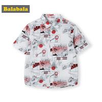 巴拉巴拉男童短袖衬衫中大童夏装新款童装儿童花衬衣男港风潮