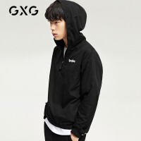 GXG男装 春季男士帅气青年黑色休闲薄款夹克字母印花外套男