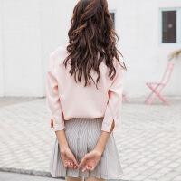 白色衬衫女短袖上衣夏季新款七分袖百搭甜美雪纺衫宽松v领衬衣女