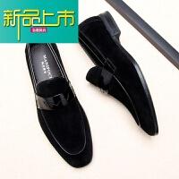 新品上市鞋男英伦男士方头休闲皮鞋磨砂皮商务正装皮鞋一脚蹬韩版男鞋