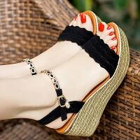 夏季新款坡跟凉鞋女夏平底松糕厚底女凉鞋高跟防水台大码女鞋