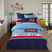 四季款全棉汽车贴布绣卡通四件套全棉儿童床上三件套男生床上用品定制 1.5米床单4件套 被套2*2.3米