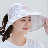 防晒帽子女夏天可折叠百搭出游空顶遮阳沙滩帽大沿太阳帽