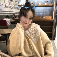 女装韩版时尚休闲套装秋冬女装V领毛衣开衫外套女+蕾丝娃娃领衬衫两件套保暖宽松毛衣女 均码