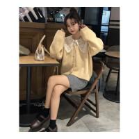 新年礼物韩版时尚休闲套装秋冬女装V领毛衣开衫外套蕾丝娃娃领衬衫两件套 均码