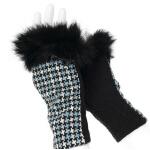 新款时尚保暖羊毛手套时尚女兔毛口女士手套