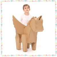儿童diy手工制作恐龙材料纸箱动物模型幼儿园霸王龙涂色玩具