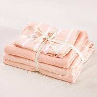 裸睡床上用品水洗棉床单四件套被套全棉三件套1.8m床简约纯棉网红