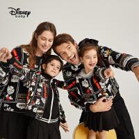 【今日3折�A估�r:72.9元】迪士尼一家三口�H子�b�r尚卡通印花黑色洋�馍弦绿最^�l衣外套