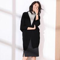 新年特惠针织外套女2019秋冬新款时尚蝙蝠袖女装百搭纯色中长款毛衣 黑色