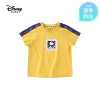【99元3件】迪士尼宝宝快乐星球男童针织运动插肩短袖T恤夏季新品