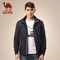 骆驼男装 微弹翻领涤纶纯色夹克 拉链收口袖色块修身夹克衫 男