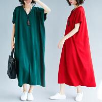 胖女人冬装洋气大码连衣裙宽松减龄遮肚子时髦短袖长裙春夏季新款