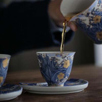 功夫茶具茶杯陶瓷茶碗描金品茗杯主人单杯普洱功夫茶杯