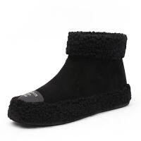 一脚蹬毛毛鞋冬鞋子女2018新款短靴女百搭韩版ins雪地靴加绒保暖