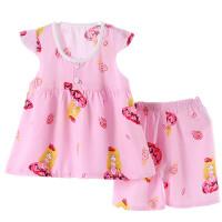 儿童家居服夏款短袖棉绸裙套装薄女孩睡衣家居服套装婴儿童装