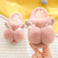 儿童棉拖鞋包跟小孩宝宝婴幼儿男女室内保暖毛秋冬卡通可爱1-3岁2