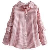 女童衬衫长袖中大童格子衬衣小学生上衣春装